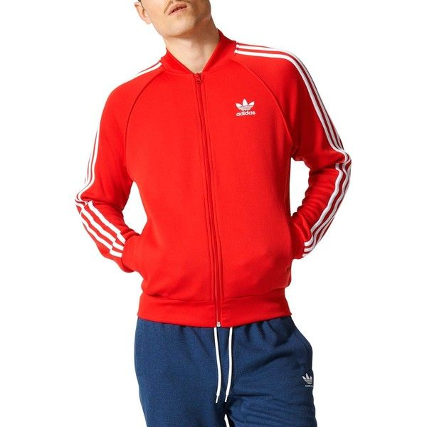 adidas Originals Superstar Track Jacket ($70) ❤ liked on Polyvore featuring men's fashion, men's clothing, men's activewear, men's activewear jackets and red