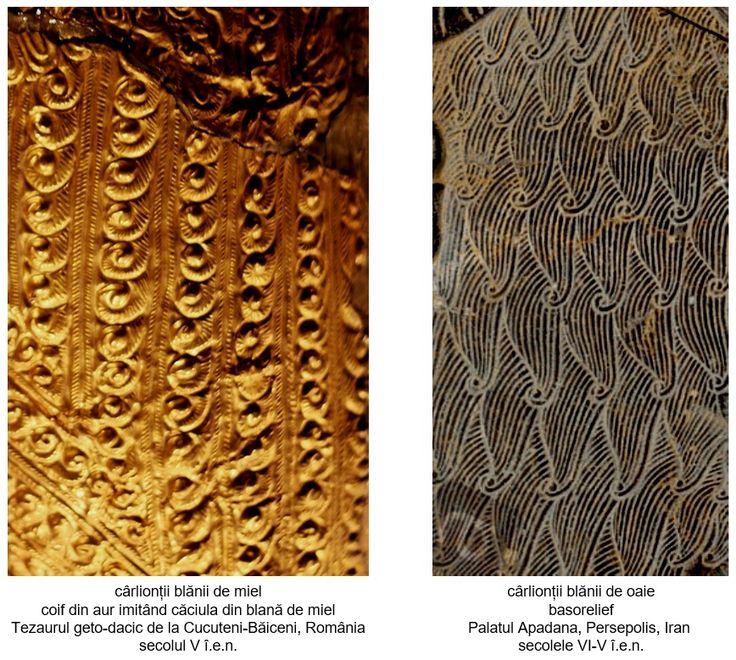 În basorelieful datând din secolele VI-V î.e.n., contemporan cu coiful getic descoperit la Cucuteni-Băiceni, cârlionții din lână sunt reprezentați într-un mod asemănător: smocurile de blană (mai scurte în cazul celor executate pe coif) formează la vârfuri o buclă. În ambele cazuri, șuvițele sunt reprezentate prin linii paralele.
