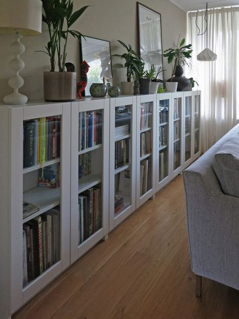 Perfect For A Small Room Because They Are So Narrow BILLY Bookcases With GRYTNS Glass Doors IKEA Hackers