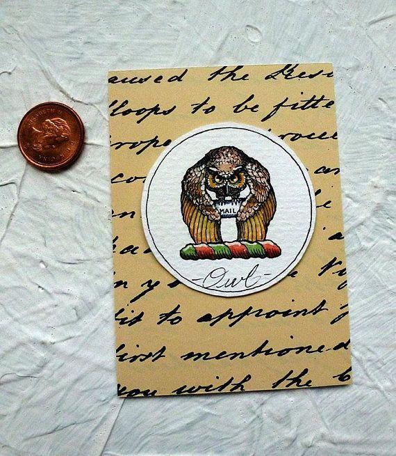 Owl Mail Watercolor Painting Original Miniature Harry Potter