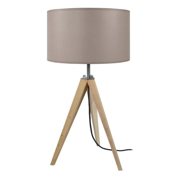 Idun Lampe A Poser En Bois Naturel O30 X H 56 Cm Abat Jour Cylindrique Taupe E27 60w Abat Jour Lampe A Poser Et Bois