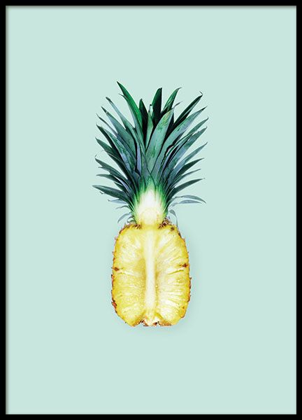 Trendy poster of a pineapple on a turquoise background. Photo art, perfect for modern interior design. www.desenio.com