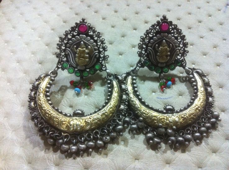 Two tone sterling silver Chand bali... For wholesale enquiry contact info@eisilver.com