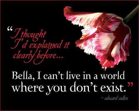 """ I thought I'd explained it clearly before...Bella, I can't live in a world where you don't exist. "" Edward Cullen"