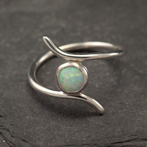 Opal ring- Silver Opal Ring- Sterling Silver Ring- Gemstone Ring- Modern Opal Ring- October birthstone- size 6.5, 7, 7.5, 8, 8.5. $48.00, via Etsy.