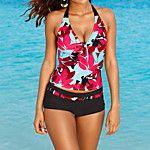 Mujer Halter Bikini Geométrico,Nailon Licra,Rayas 2017 - $12.99