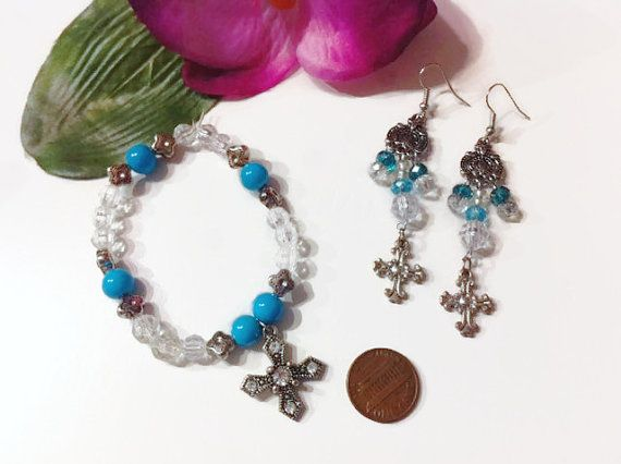 Blue Beaded Cross Jewelry Set Cross charms Christian by bowsngifts, $10.00