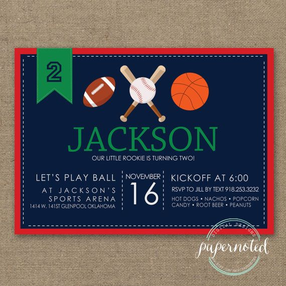 Sports Birthday Invitation // Basketball Birthday // Football Brithday // Baseball Birthday // Boy Birthday Theme // Red // DIY Printables