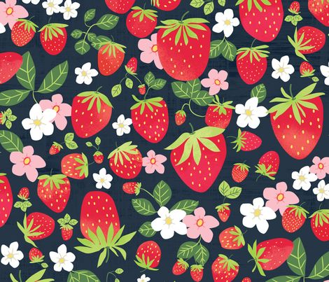 Strawberry Patch Creativebug fabric by tracip on Spoonflower - custom fabric