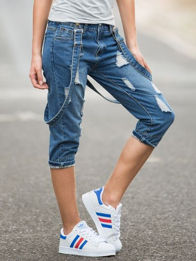 Blue Ripped Capris Dungarees