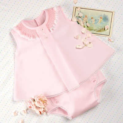 Vintage inspired infant / baby dress outfit.