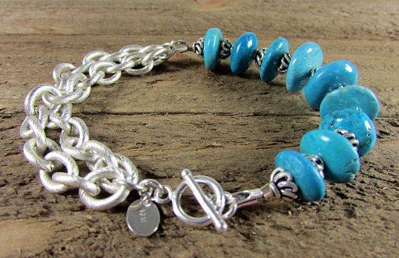 Turquoise & Double Chain Bracelet, Turquoise Bracelet, Gemstone Jewelry, Blue Bracelet