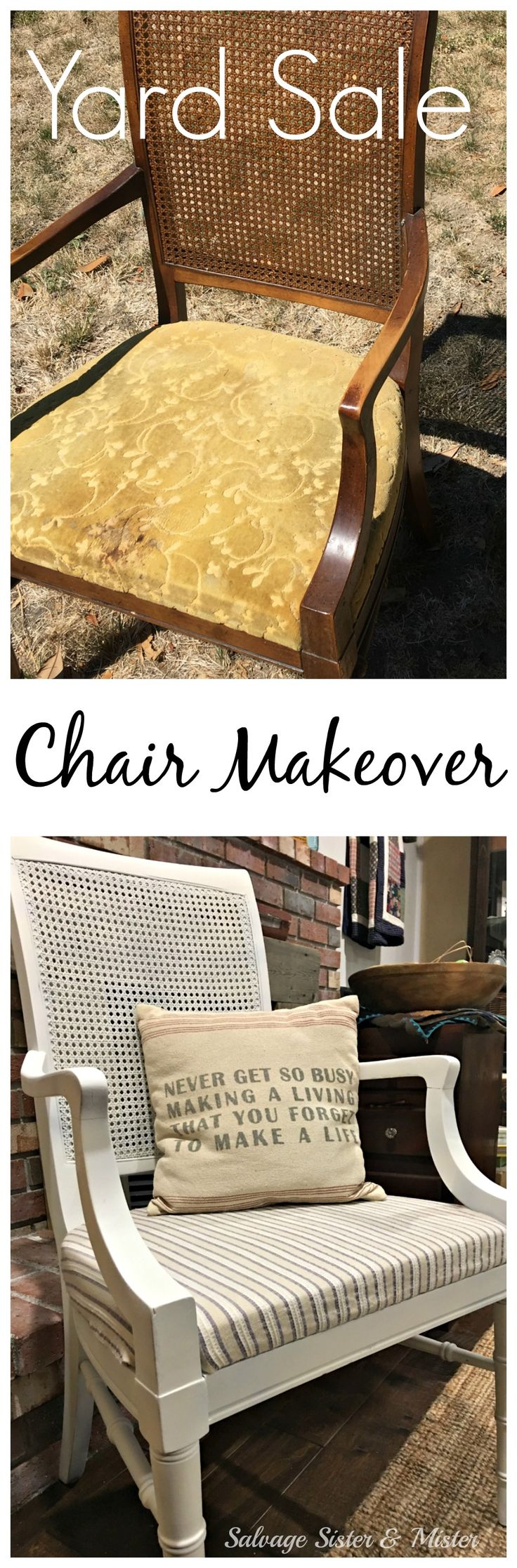 This yard sale chair was a bargain price but needed some work. It was the perfect price to DIY and reupholster for the first time. Using a little spray chalk paint the chair is now perfect for a modern eclectiv farmhouse office chair. Most items were items we already had on hand, use what you got. Inexpensive and fairly simple home project to tackle.