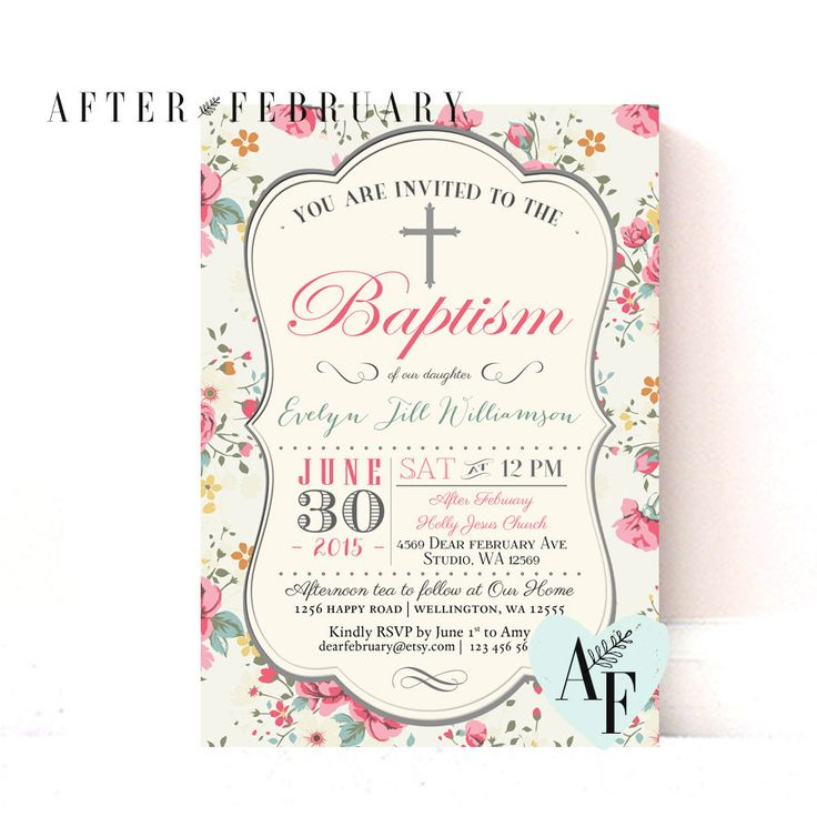 Girl Baptism Invitation // Girl Baptism Invites by AfterFebruary