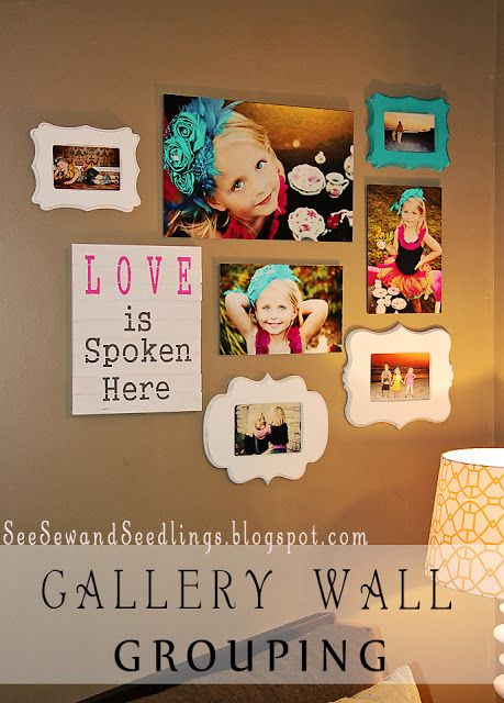 Gallery Wall ideas--lots  like the bold color photo props