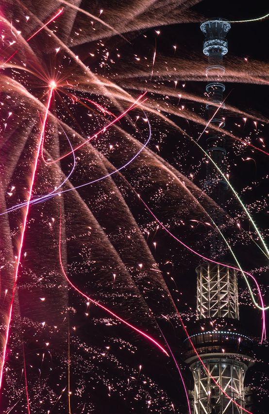 Tokyo Sky Tree and fireworks