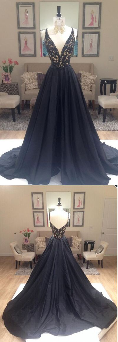 Black Prom Dress, A Line Prom Dresses, Deep V-NECK Prom Gown, Black Evening Dresses, Lace Formal Dresses, Sexy Party Dresses, Prom Dress