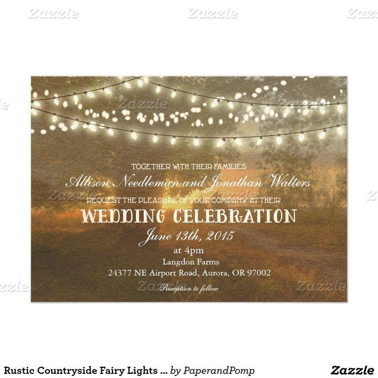 素朴な田舎豆電球の結婚式招待状 12.7 X 17.8 インビテーションカード