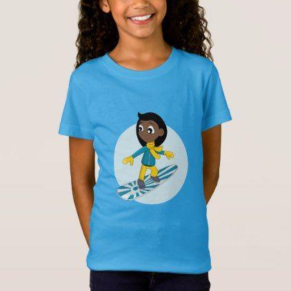#Snowboarding girl cartoon T-shirt - #giftideas for #kids #babies #children #gifts #giftidea