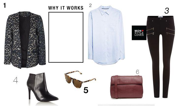 Leopard blazer, Gestuz blazer, Mango bouse, Paige jeans, Reiss heels, Persol sunglasses, Matt & Nat bag