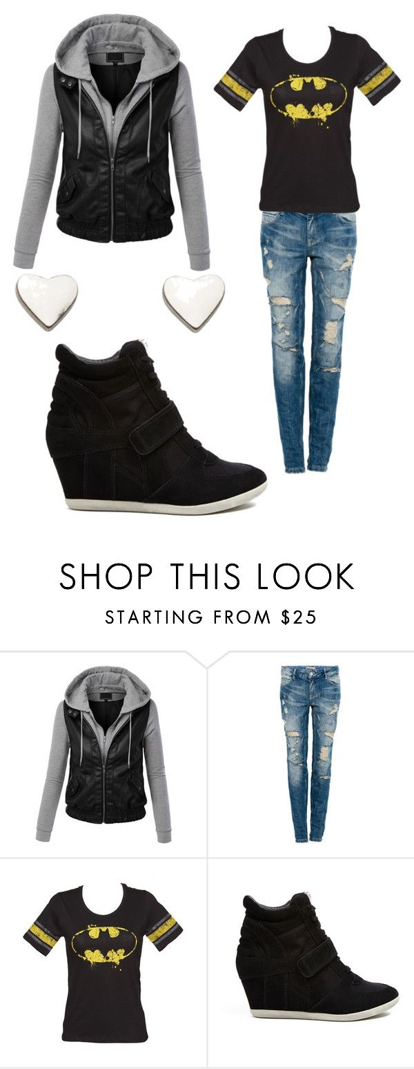"""Batman"" by kmtr ❤ liked on Polyvore featuring LE3NO, Pull&Bear, Ash and Fat Face"