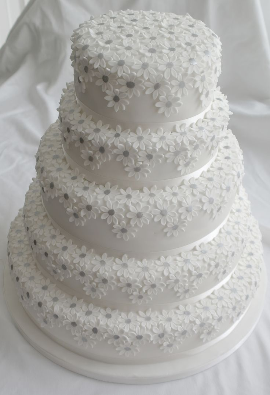 Five Tier White Daisies Wedding Cake