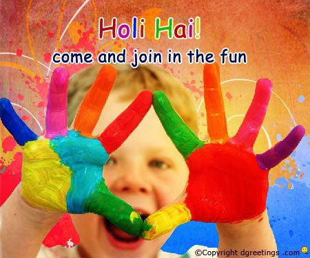 Color your hands with Holi. Holi Cards #HoliCards