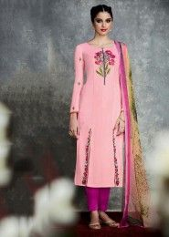 Party Wear Pink Cotton Satin Embroidered Work Plazzo