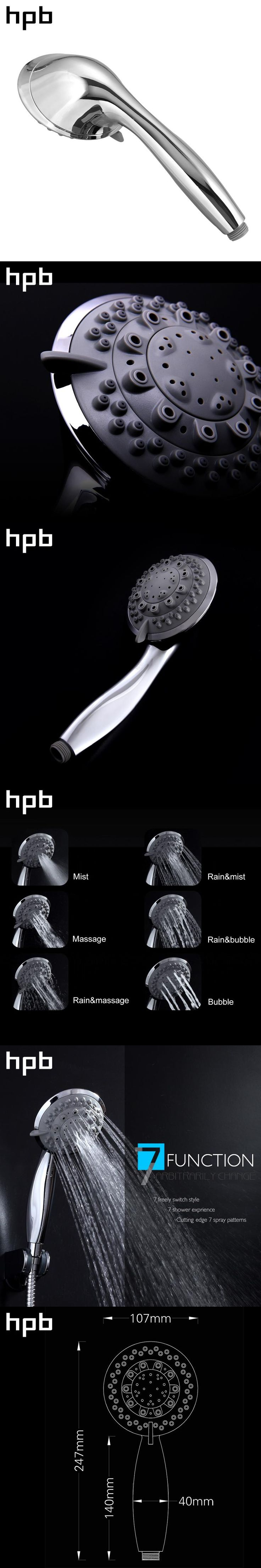 HPB Seven Functions Bathroom Handheld Shower ABS Chrome Finish Water Saving High Pressure Shower Head Round Hand Shower HP7106
