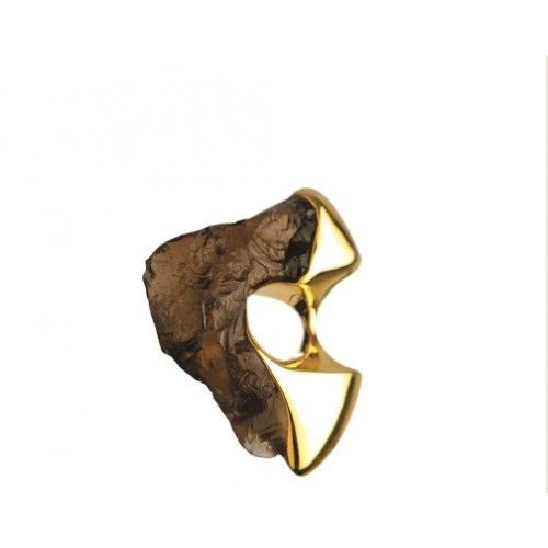 """""""Lithic"""" Ring: gold with smoky quartz stone"""