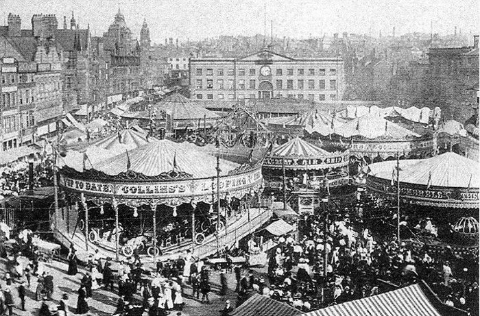 Goose fair as it was in the Market Square Nottingham....first held in 1284, the Goose Fair has over 700 yrs of history behind it.