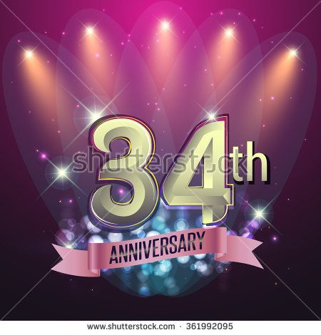 34th Anniversary, Party poster, banner or invitation - background glowing element. Vector Illustration. - stock vector