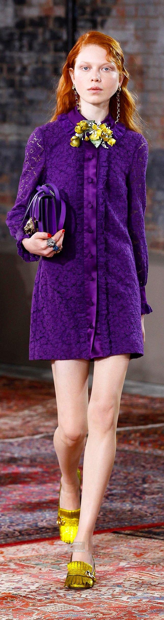 Gucci Pre Spring 2016 collection rechte jurkstretch kant, knopenrij in satijn voorkant, opstaand kraagje
