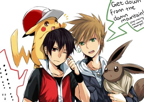 Pokemon - Red and Blue... Again! I love these guys! Red, Blue, Pikachu, and Eevee                                                                                                                                                     More