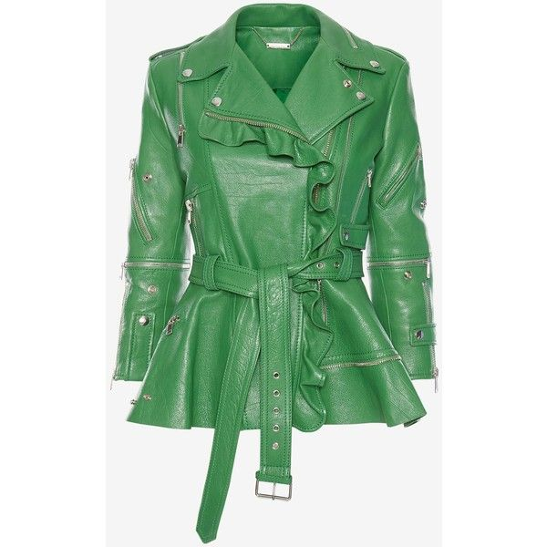 Alexander McQueen Ruffled Leather Biker Jacket ($6,705) ❤ liked on Polyvore featuring outerwear, jackets, kew green, ruffle leather jackets, leather motorcycle jacket, biker jackets, long sleeve jacket and green leather jacket
