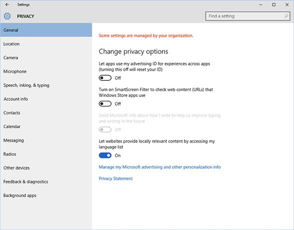 Change privacy settings for Windows 10
