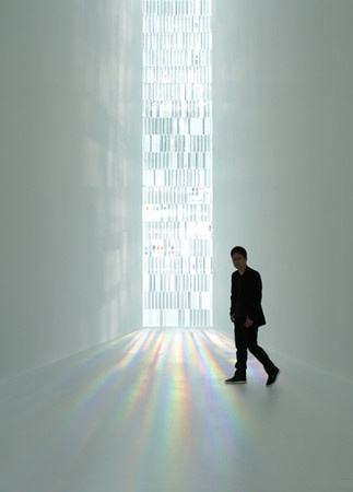 TOKUJIN YOSHIOKA | Rainbow Church exhibit at the Museum of Contemporary Art Tokyo -   The centerpiece is a tall, slender installation that's 40 feet tall and contains 500 crystal prisms. Light refracts through the prisms, throwing rainbow hues on the adjacent walls for a stained glass effect without the stained glass. http://www.fastcodesign.com/3020098/a-crystal-church-that-could-make-you-find-god