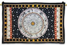 """Ethnic Black Tapestry Astrology Print Table Runner Large Bed Sheet 85"""" X 55"""""""