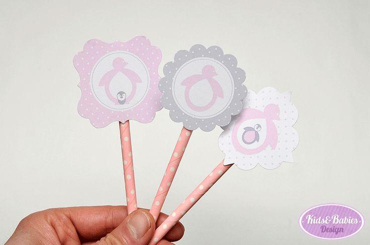 """Kids&Babies: Party Printables :: Baby Shower Pinguim - círculos de festa (""""cupcakes toppers"""", etc...)"""