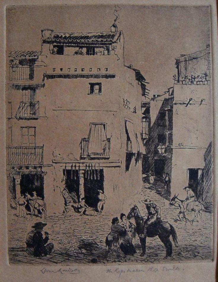 Lionel Lindsay etching The Rope maker s shop Seville signed Australia