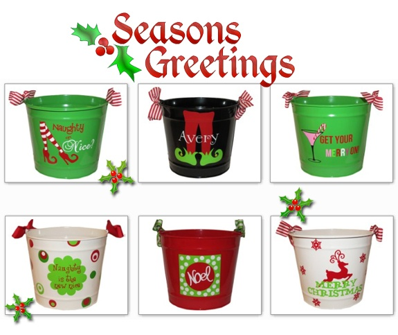 Cute Buckets... Lots Of Vinyl Ideas On This Web Site