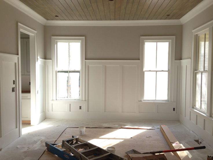 pine tongue and groove ceiling with 5' tall wainscoting I did in Atlanta                                                                                                                                                      More