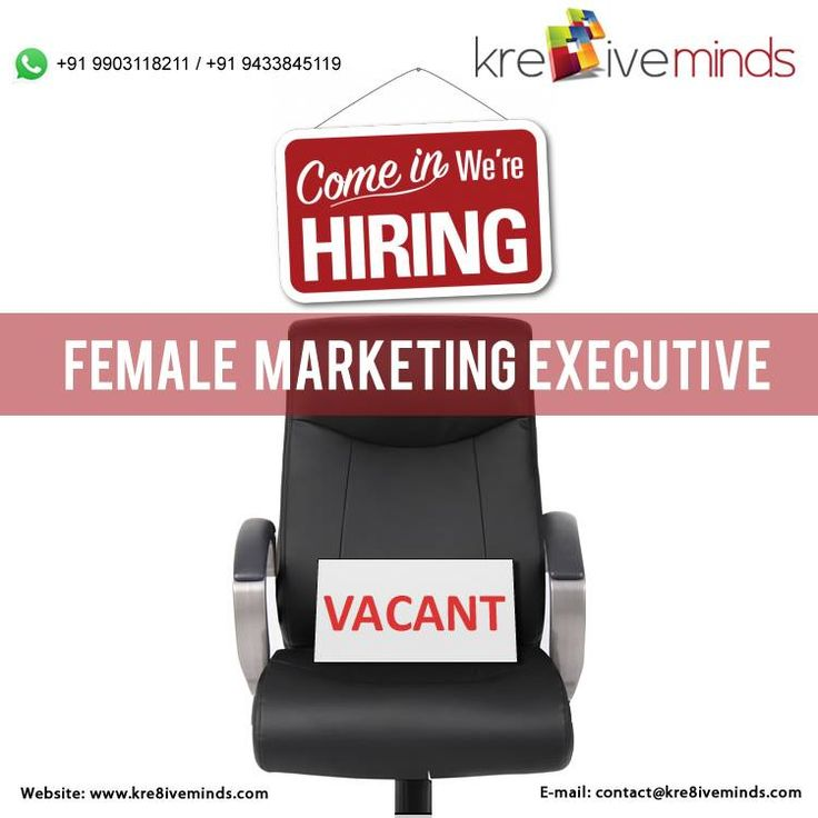 Urgent #Vacancy for #Female #Marketing #Executive Visit Us at: www.kre8iveminds.com Or Call Us at: +91 9903118211