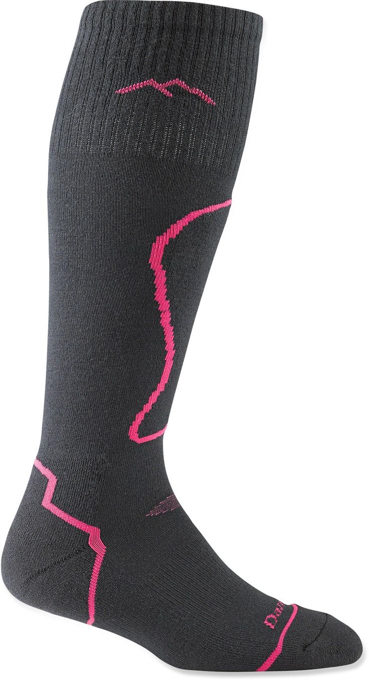 With padding at the shins, along the bottoms and around the toe boxes—Women's Darn Tough Thermolite® Cushioned ski socks.