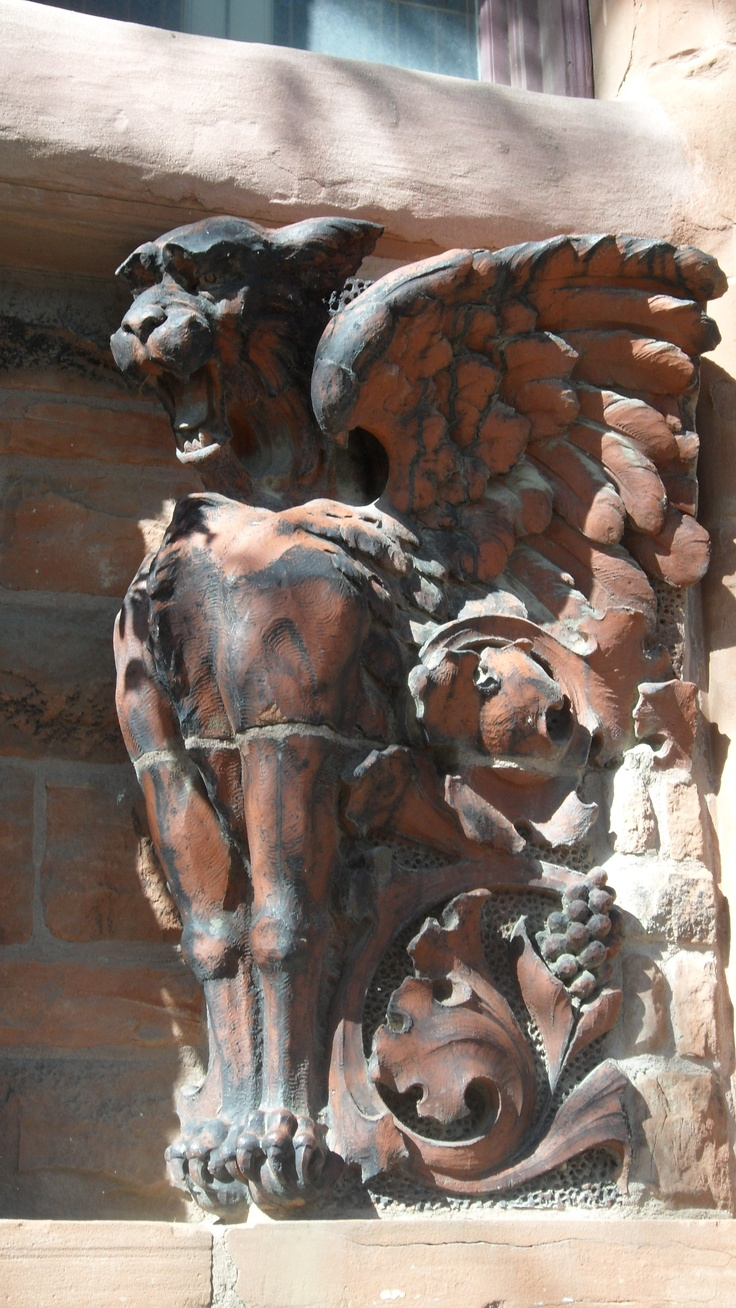 From Nebraska (took during an author visit trip)...random gargoyle statue...(comment from previous pinner)