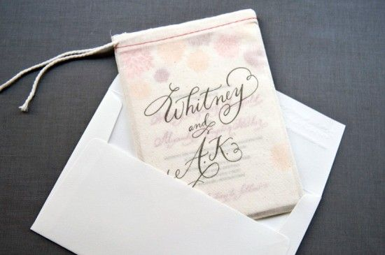 Letterpress Calligraphy Wedding Invitation Muslin Bag 550x365 Whitney + A.K.s Colorful Letterpress Wedding Invitations