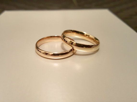 Set of 2, 14k Solid Gold Wedding Set, engagement ring, 14k Gold His and Hers Matching Wedding Bands, Classic wedding ring, Wedding Band