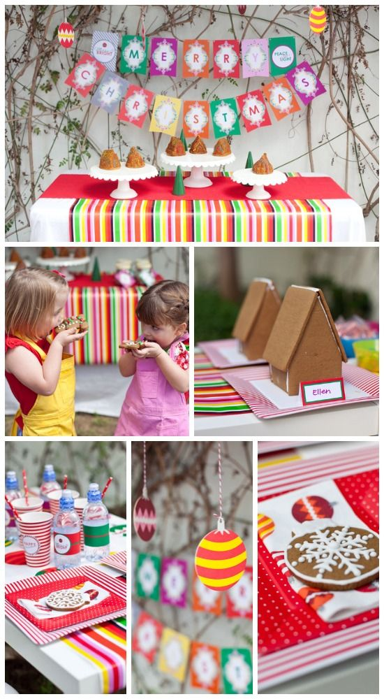 A gingerbread house decorating kids' Christmas party
