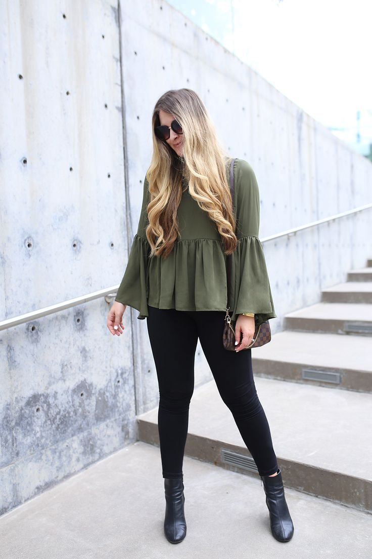 Versatile Olive Green Top for Fall from Asos for $72. Get ready for fall with this gorgeous bell sleeve top from Asos. It has a pretty, feminine silhouette with ruffles and dramatic sleeves. The olive green color is perfect for fall and can be dressed up or dressed down.  Pair it with lighter jeans and a pair of mules for running errands, strappy black heels and a sparkly bag for a spontaneous date night, and black cropped pants and pointy-toe pumps for the office. The options are endless…