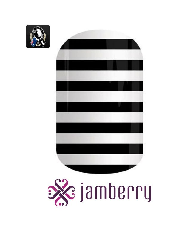 Collingwood Jamberry inspiration - Black and White Stripe